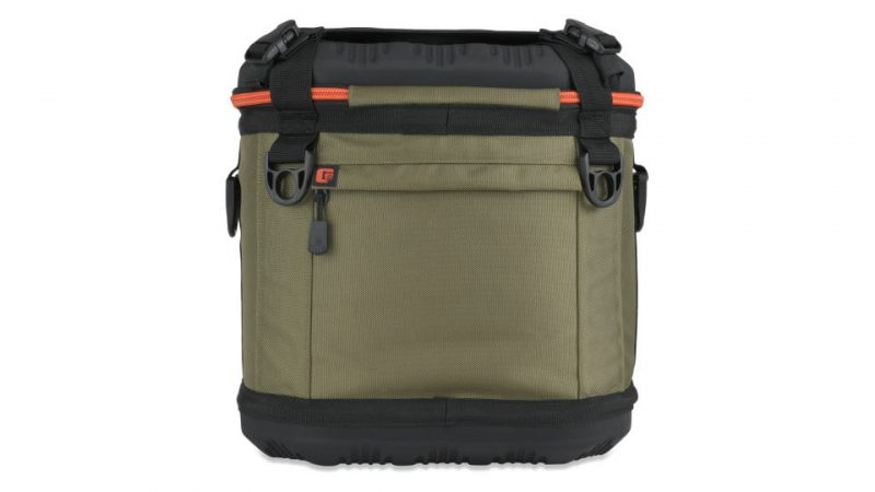 back view of grizzly drifter 20 soft cooler in green/black/orange