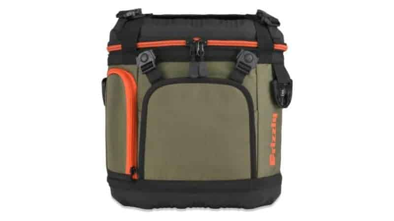 front view lid closed of grizzly drifter 20 soft sided cooler in green/black/orange