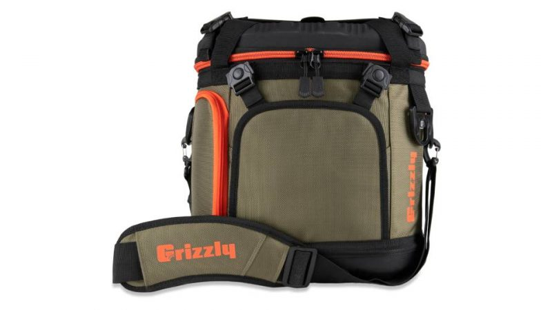 front view of grizzly drifter 20 soft sided cooler in green/black/orange