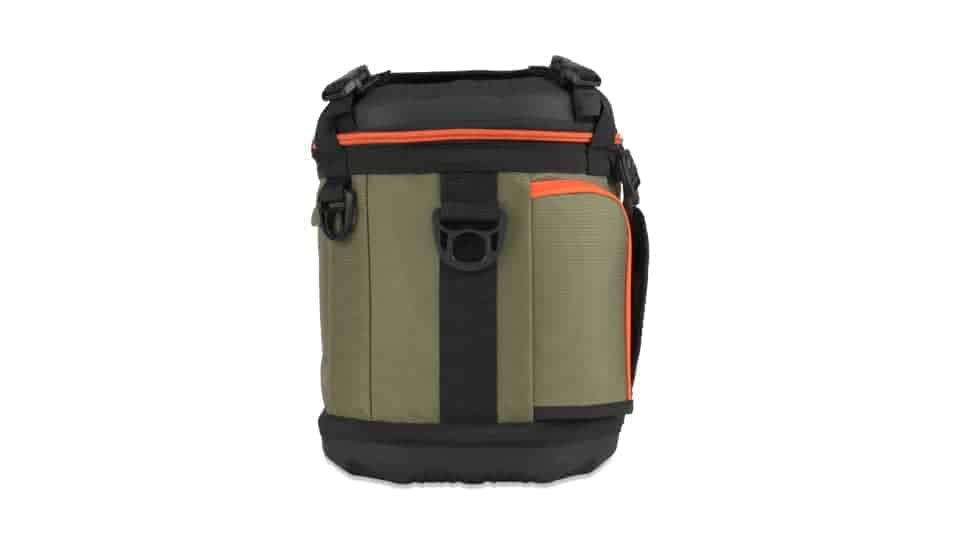 side view of grizzly drifter 20 soft sided cooler in green/black/orange