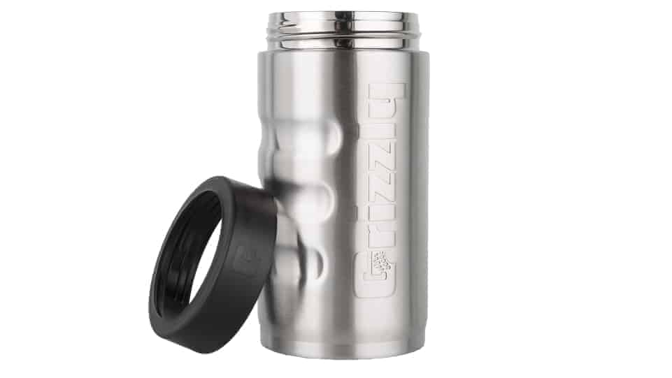 front view with push on ring off brushed stainless steel can koozie