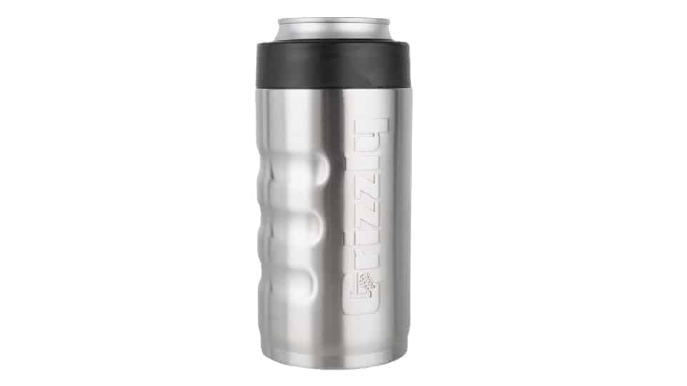 front view of brushed stainless 16 oz can cooler