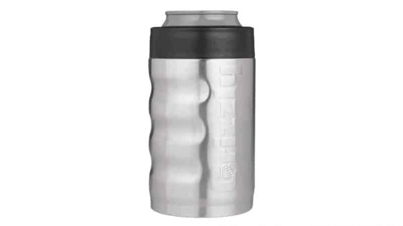 front view of stainless steel can koozie