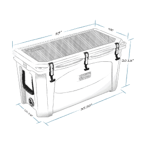 grizzly 100 hard cooler lid closed with external dimensions