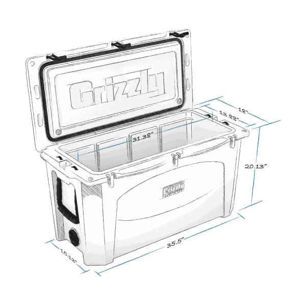 grizzly 100 hard cooler lid open with internal and external dimensions