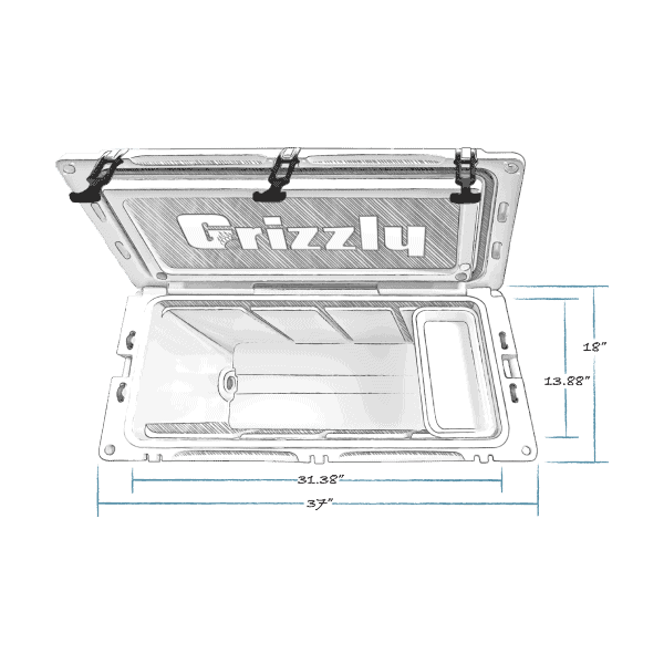 grizzly 100 hard cooler top view with external dimensions