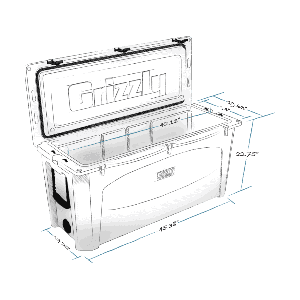 grizzly 165 hard cooler lid open with internal and external dimensions