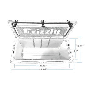grizzly 165 hard cooler sketch top view with external dimensions