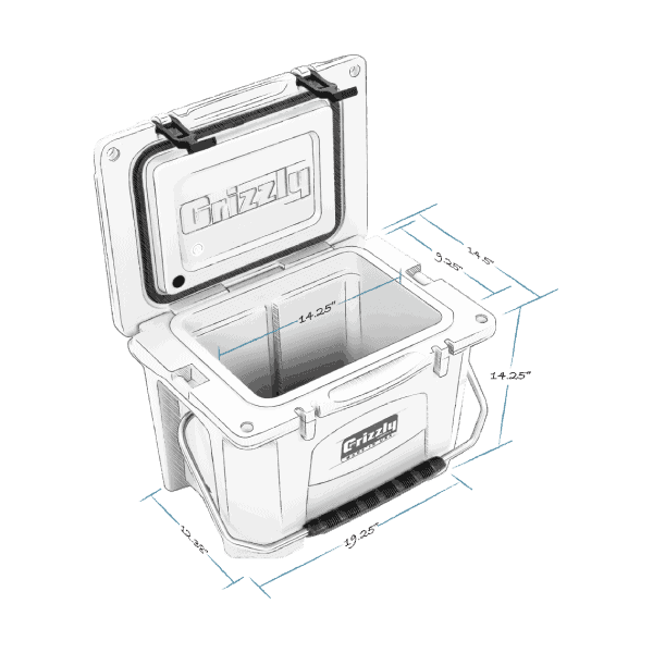 grizzly 20 hard cooler lid open with internal and external dimensions