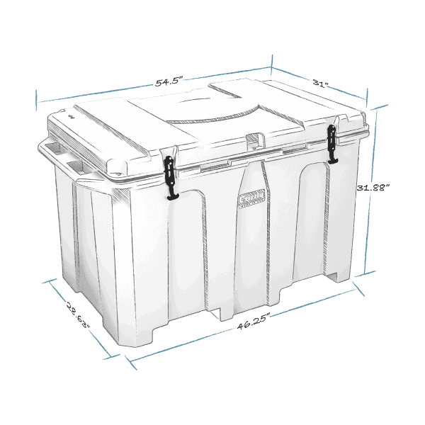grizzly 400 hard cooler lid closed with external dimensions