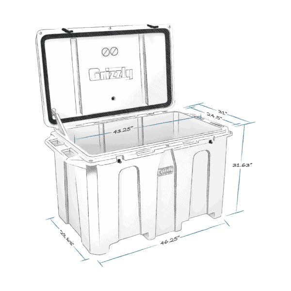 grizzly 400 hard cooler lid open with internal and external dimensions