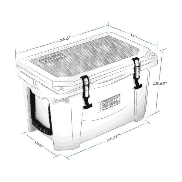 grizzly 40 hard cooler lid closed with external dimensions