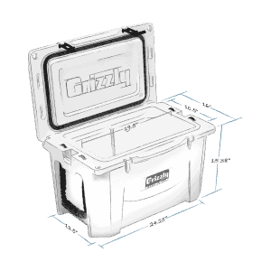 Grizzly Cooler Sizes, Grizzly 40 Hard Cooler Lid Open With Internal And External Dimensions