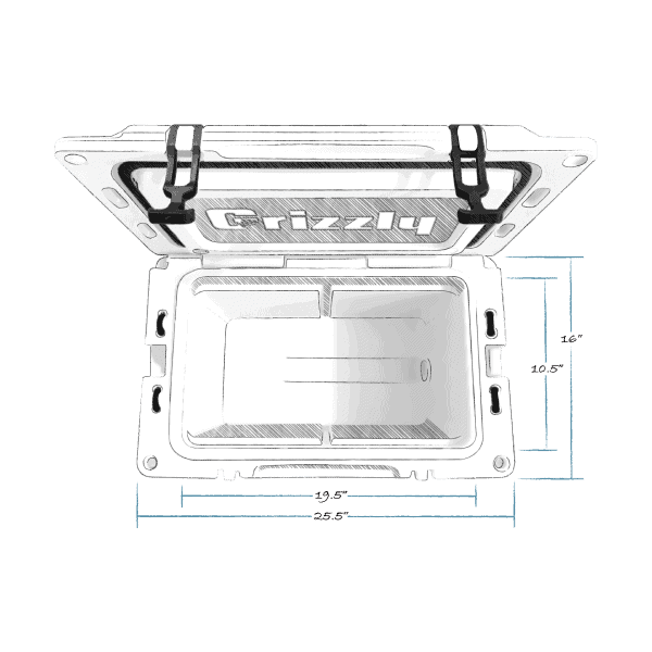 grizzly 40 hard cooler top view with external dimensions