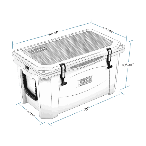 grizzly 60 hard cooler lid closed with external dimensions