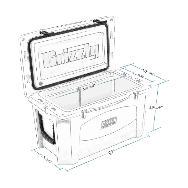 grizzly 60 hard cooler lid open with internal and external dimensions