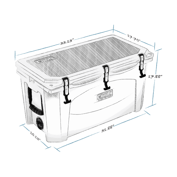 grizzly 75 hard cooler lid closed with external dimensions