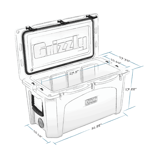 grizzly 75 hard cooler lid open with internal and external dimensions