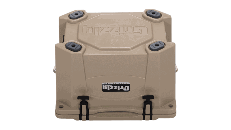 tan grizzly 20 cooler, bottom view