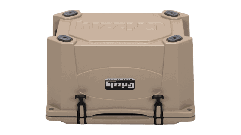 tan grizzly 40 cooler, bottom view