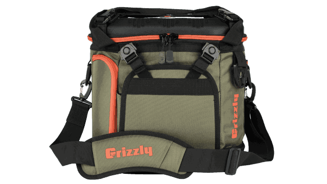 grizzly drifter 20 soft sided cooler in green/black/orange
