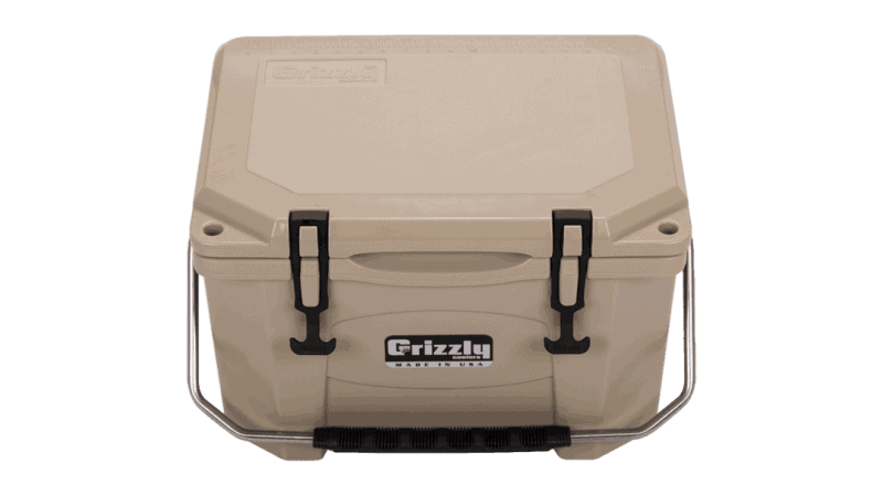 tan grizzly 20 quart cooler with lid closed, angled top front view