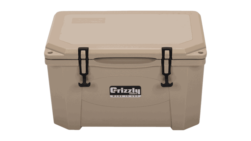 top front view looking down at tan grizzly 40 outdoor cooler with lid closed