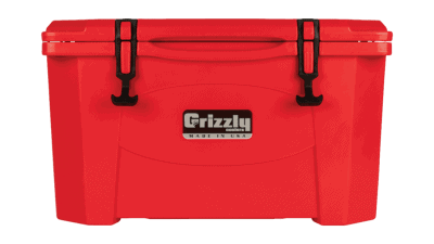 red - front view of grizzly 40 quart cooler, lid closed
