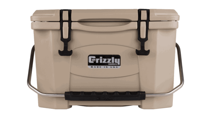 tan grizzly 20 quart cooler, lid closed with stainless steel handle, front view