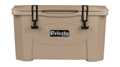 tan - front view of grizzly 40 quart cooler, lid closed