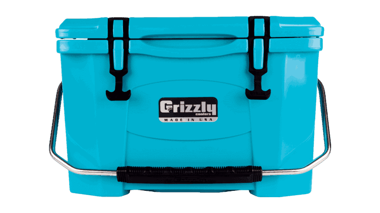 teal grizzly 20 quart cooler, lid closed with stainless steel handle, front view