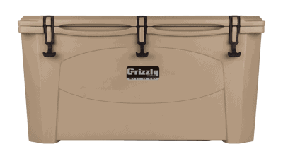 tan grizzly 100 quart cooler - lid closed front view