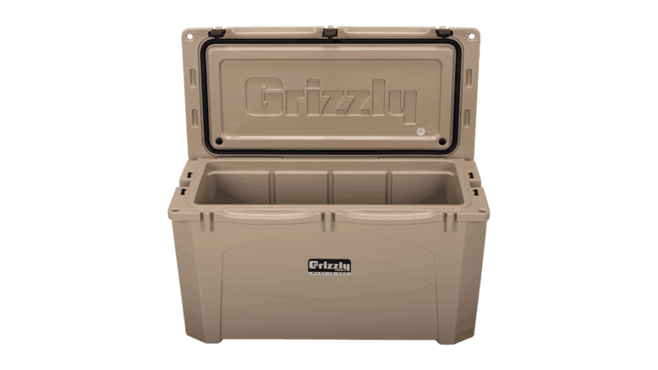 tan grizzly 100 with lid open, angled top front view
