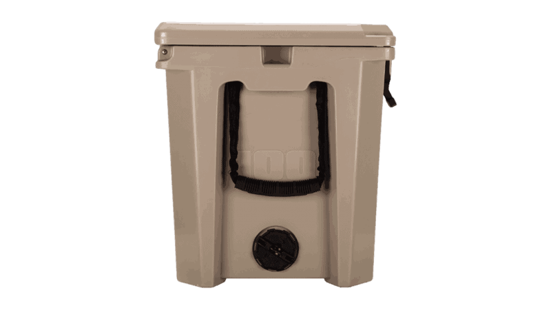 Side View Of Grizzly 100 Cooler With 2 Inch Drain Plug