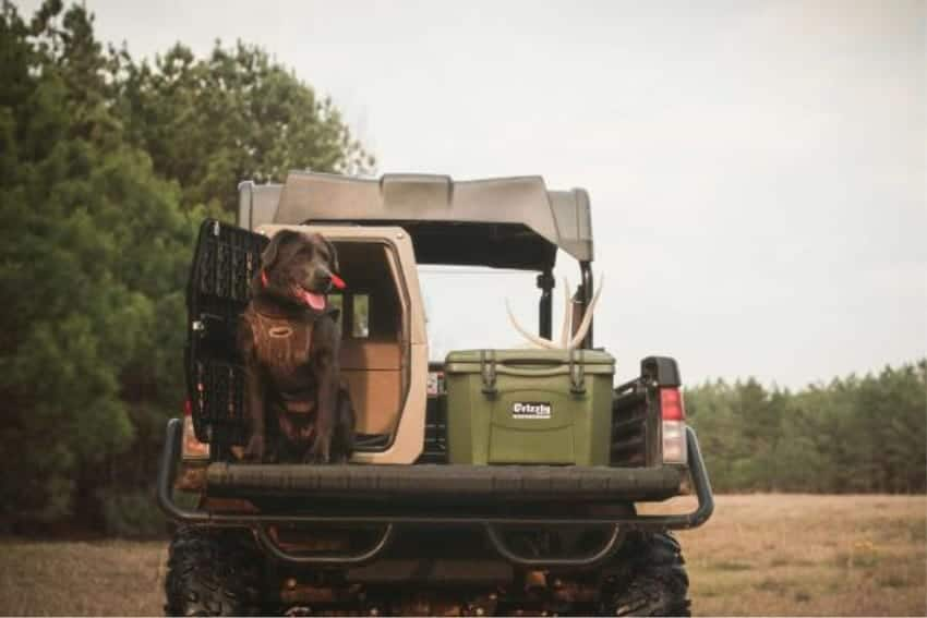 grizzly 20 cooler sitting in back of off road vehicle