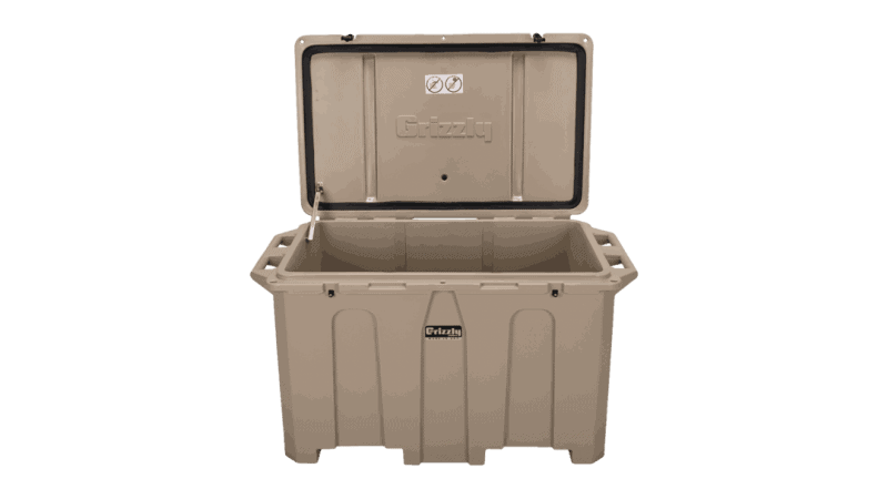 big 400 quart cooler lid open view