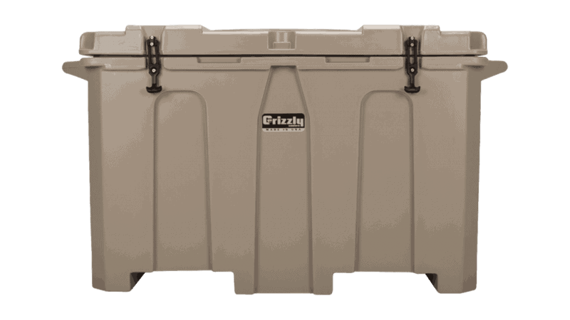 tan - front view of grizzly 400 quart cooler, lid closed
