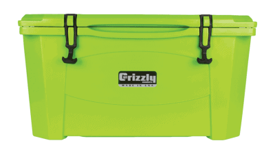lime grizzly 60 quart cooler - lid closed, front view