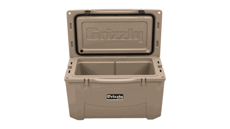 tan grizzly 60 with lid open, angled top front view