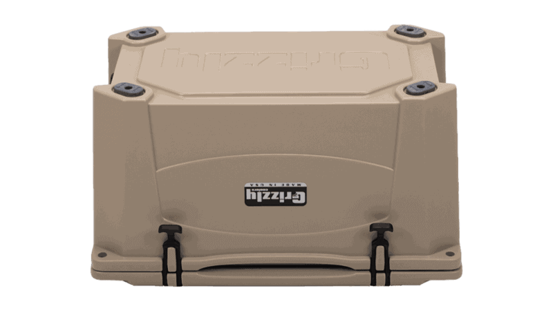 tan grizzly 60 cooler - bottom view