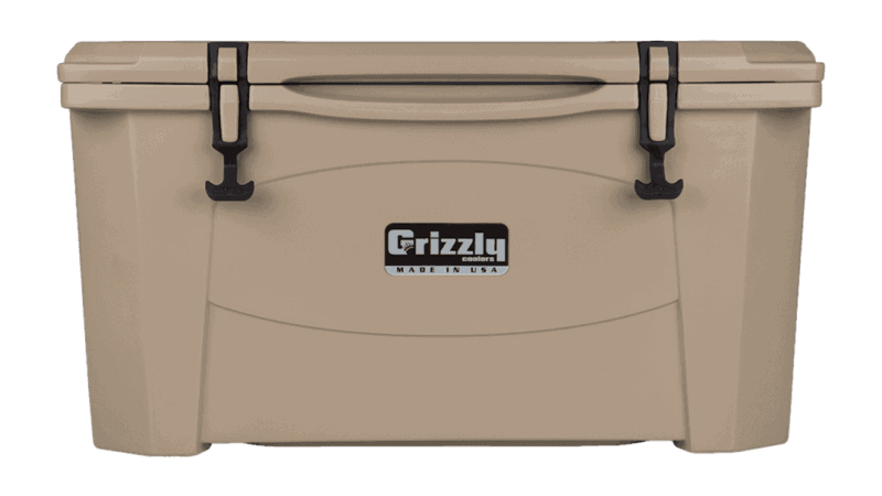 tan grizzly 60 quart cooler - lid closed, front view