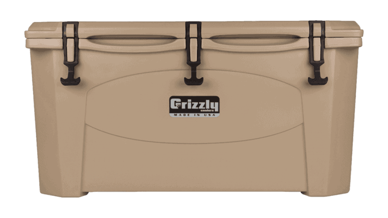 tan grizzly 75 quart cooler - lid closed front view