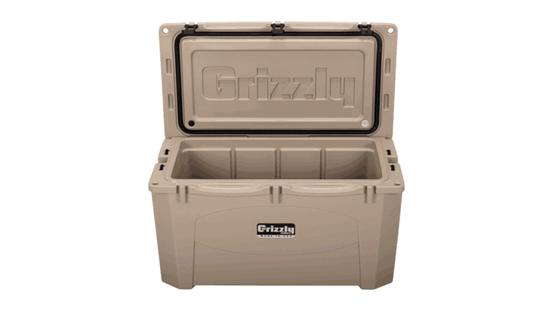 Tan Grizzly 75 With Lid Open - Angled Top Front View
