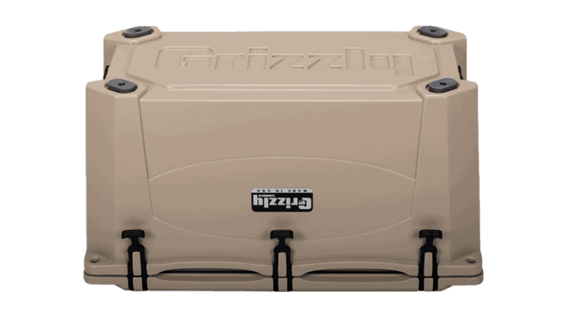 tan grizzly 75 cooler - bottom view
