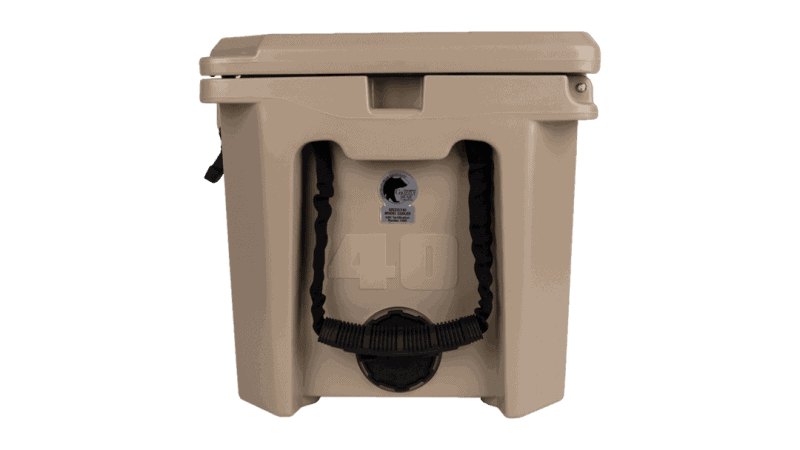 side view of grizzly 40 cooler with 2 inch drain plug