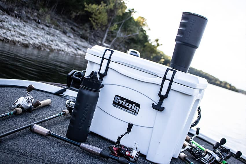 Grizzly 15 Cooler on a boat