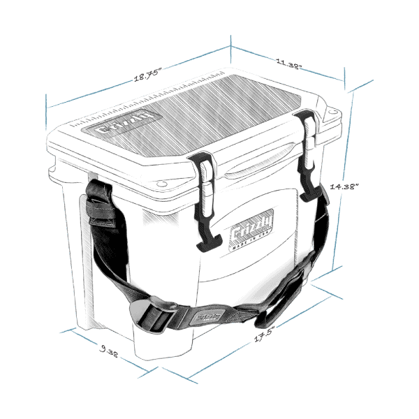 grizzly 15 hard cooler lid closed with external dimensions