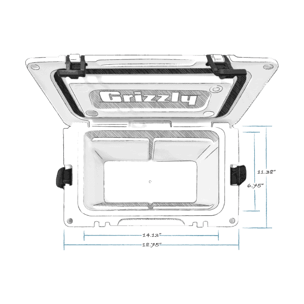 grizzly 15 hard cooler top view with external dimensions