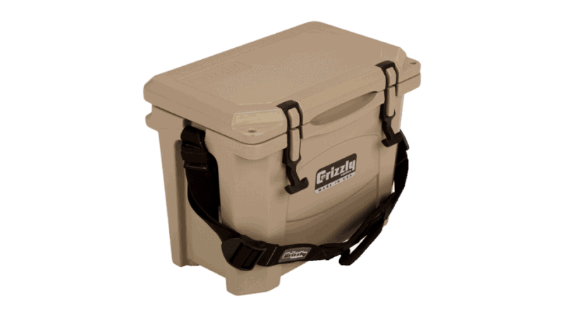 angled front view looking down at grizzly 15 small ice chest with lid closed