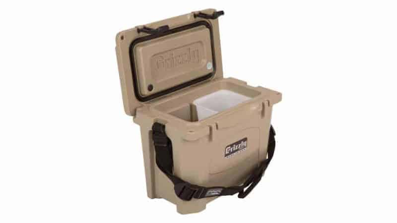 grizzly 15 quart tan cooler with lid open